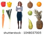 woman with lovely fruit | Shutterstock . vector #1048037005