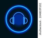 stereo headphones. pointer neon ... | Shutterstock .eps vector #1048039102