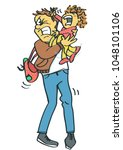 stressed and miserable father... | Shutterstock .eps vector #1048101106