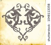 retro baroque decorations... | Shutterstock .eps vector #1048113358