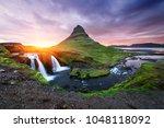 kirkjufellsfoss waterfall and... | Shutterstock . vector #1048118092