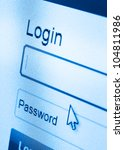 macro shot of Login and password on computer screen - stock photo