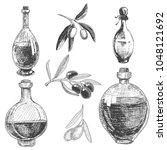 set of bottles of olive oil and ... | Shutterstock .eps vector #1048121692