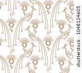 peacock minimal style seamless... | Shutterstock .eps vector #1048124605