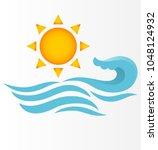 sun with sea  | Shutterstock .eps vector #1048124932