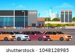 new cars over dealership center ... | Shutterstock .eps vector #1048128985