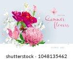 vintage vector bouquet blooming ... | Shutterstock .eps vector #1048135462