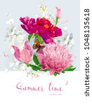 vintage vector bouquet blooming ... | Shutterstock .eps vector #1048135618