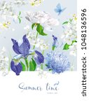 vintage vector bouquet blooming ... | Shutterstock .eps vector #1048136596