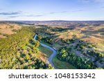 aerial view of Dismal River in Nebraska Sandhills near Seneca, spring scenery