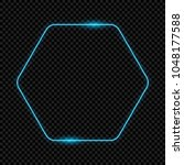 neon hexagon frame for design ... | Shutterstock .eps vector #1048177588