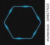 neon hexagon frame  sign ... | Shutterstock .eps vector #1048177615