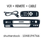 vcr  remote control and cable.... | Shutterstock .eps vector #1048194766
