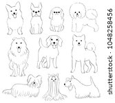 group of small dogs hand drawn | Shutterstock .eps vector #1048258456