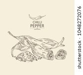 chilli pepper  a piece of hot... | Shutterstock .eps vector #1048272076