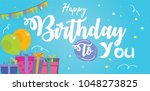 happy birthday greeting card ... | Shutterstock .eps vector #1048273825