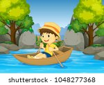 boy rowing boat in the river... | Shutterstock .eps vector #1048277368