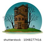haunted house on island...   Shutterstock .eps vector #1048277416