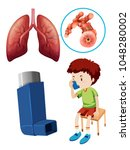 kid with asthma puffer and lung ... | Shutterstock .eps vector #1048280002