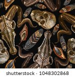 color feathers  bull skull and... | Shutterstock .eps vector #1048302868