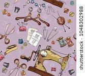 tailoring tools seamstress... | Shutterstock .eps vector #1048302988