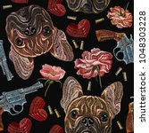 embroidery bulldog  flowers and ... | Shutterstock .eps vector #1048303228