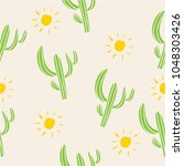 mexican cactus seamless pattern ... | Shutterstock .eps vector #1048303426