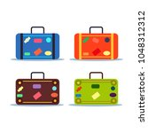 set of travel bag  luggage with ... | Shutterstock .eps vector #1048312312
