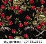 embroidery skull in crown ... | Shutterstock .eps vector #1048313992