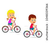 kids boy and girl ride a bike... | Shutterstock .eps vector #1048339366
