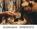 herbal tea made with goji... | Shutterstock . vector #1048352572