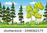 rual summer landscape with... | Shutterstock .eps vector #1048362175
