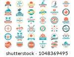 summer retro vector logo for... | Shutterstock .eps vector #1048369495