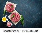 fresh minced beef meat burgers... | Shutterstock . vector #1048383805