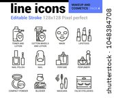 makeup and cosmetics line icons ... | Shutterstock .eps vector #1048384708