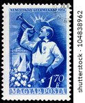 HUNGARY - CIRCA 1951: A Stamp printed in Hungary shows pioneers, circa 1951 - stock photo