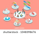 omnichannel flat isometric... | Shutterstock .eps vector #1048398676