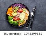 buddha bowl dish with chicken... | Shutterstock . vector #1048399852