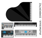 keyboard musical instruments... | Shutterstock .eps vector #1048434742