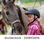 Stock photo horse whispers horse and lovely girl best friends 104843696