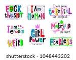 girl power shirt quote feminist ... | Shutterstock .eps vector #1048443202
