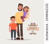 happy father's day. father with ... | Shutterstock .eps vector #1048462132