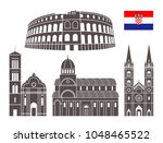 croatia set. isolated croatia... | Shutterstock .eps vector #1048465522