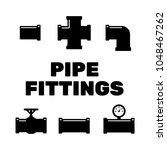 Pipe Fittings Icons Set. Tube...