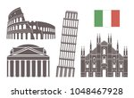 italy set. isolated italy... | Shutterstock .eps vector #1048467928