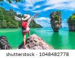 traveler asian woman in summer...   Shutterstock . vector #1048482778