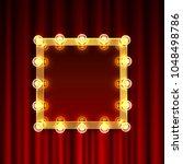 gold mirror frame with light... | Shutterstock .eps vector #1048498786