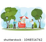 people buy and eat hot dogs in... | Shutterstock .eps vector #1048516762