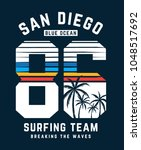 san diego surfing theme vector... | Shutterstock .eps vector #1048517692