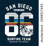san diego surfing theme vector... | Shutterstock .eps vector #1048517692